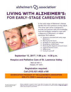 Living with Alzheimer's: For Early-Stage Caregivers @ The Hospice Center | Potsdam | New York | United States