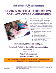 Living with Alzheimer's: For Late-Stage Caregivers @ The Hospice Center | Potsdam | New York | United States