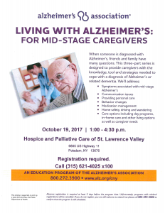 Living with Alzheimer's: For Mid-Stage Caregivers @ The Hospice Center | Potsdam | New York | United States